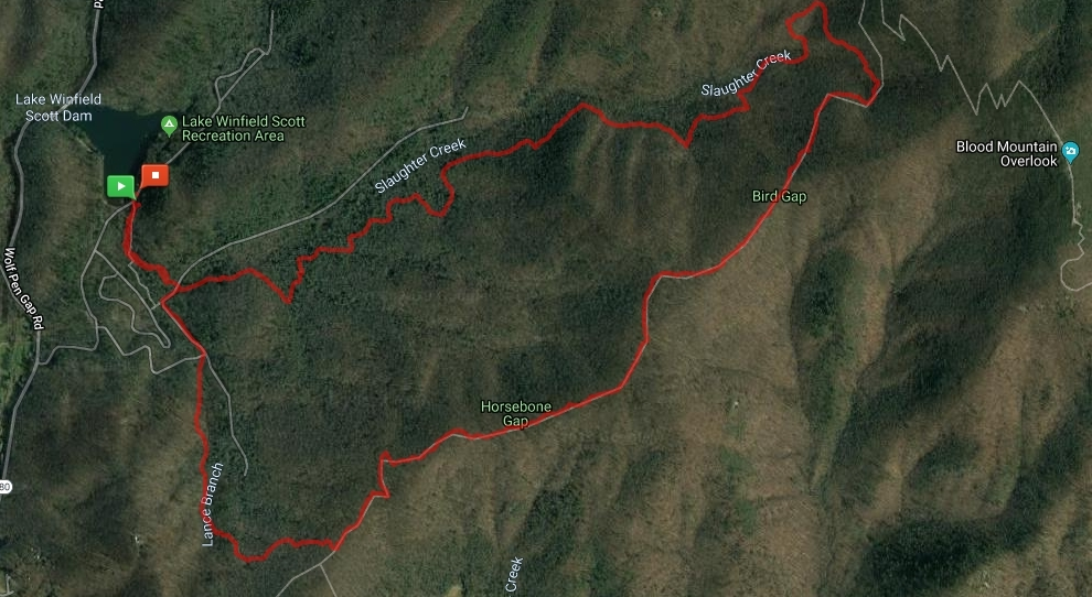 Map showing the Slaughter Gap to AT to Jarrard Gap Loop at Lake Winfield Scott